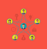 Έννοια της ηγεσίας, κοινοτικοί επιχειρηματίες Επίπεδο ico ύφους Στοκ Εικόνα