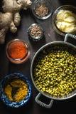 Έννοια της ινδικής κουζίνας με mung DAL στη σκοτεινή κατακόρυφο υποβάθρου Στοκ φωτογραφίες με δικαίωμα ελεύθερης χρήσης