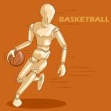 Έννοια της καλαθοσφαίρισης με το ξύλινο ανθρώπινο μανεκέν Στοκ Εικόνες