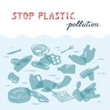 Έννοια της οικολογικής καταστροφής των απορριμάτων στη θάλασσα διανυσματική απεικόνιση