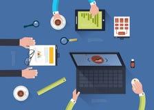 Έννοια της ομαδικής εργασίας στο επίπεδο σχέδιο διανυσματική απεικόνιση
