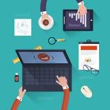 Έννοια της ομαδικής εργασίας στο επίπεδο σχέδιο απεικόνιση αποθεμάτων