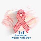 Έννοια της Παγκόσμιας Ημέρας κατά του AIDS με την κορδέλλα συνειδητοποίησης Στοκ Εικόνες