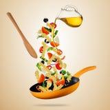 Έννοια της πετώντας προετοιμασίας τροφίμων με το παραδοσιακό ιταλικό παρελθόν Στοκ Εικόνες
