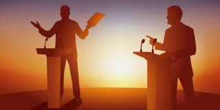 Έννοια της πολιτικής συζήτησης με δύο αντιπάλους που αντιμετωπίζουν το πρόγραμμά τους πίσω από τα γραφεία ελεύθερη απεικόνιση δικαιώματος
