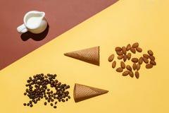Έννοια της προετοιμασίας για το παγωτό ή τον παγωμένο καφέ Κανάτα κρέμας, δύο φλυτζάνια βαφλών, διεσπαρμένα φασόλια καφέ και αμύγ Στοκ Φωτογραφία