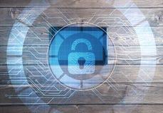 Έννοια της πρόσβασης υπολογιστών με το εικονίδιο κλειδαριών μέσων στην οθόνη ταμπλετών Στοκ φωτογραφία με δικαίωμα ελεύθερης χρήσης