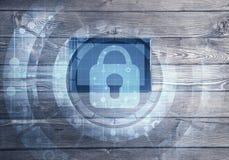 Έννοια της πρόσβασης υπολογιστών με το εικονίδιο κλειδαριών μέσων στην οθόνη ταμπλετών Στοκ εικόνα με δικαίωμα ελεύθερης χρήσης