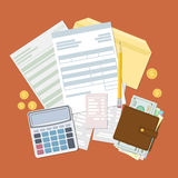 Έννοια της φορολογικών πληρωμής και του τιμολογίου απεικόνιση αποθεμάτων