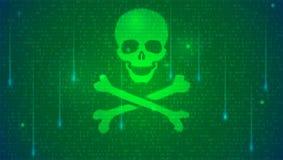 Έννοια της χάραξης υπολογιστών Δυαδικός κώδικας, επιπλέοντα ψηφία και κρανίο με τα κόκκαλα στο ψηφιακό υπόβαθρο Έννοια του cyber απεικόνιση αποθεμάτων