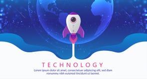 Έννοια της ψηφιακής τεχνολογίας Πύραυλος που πετά στο διάστημα διανυσματική απεικόνιση