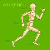 Έννοια του αθλητή με το ξύλινο ανθρώπινο μανεκέν Στοκ εικόνα με δικαίωμα ελεύθερης χρήσης