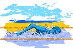 Έννοια του αθλητικού τύπου που κάνει την κολύμβηση Στοκ εικόνα με δικαίωμα ελεύθερης χρήσης