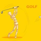 Έννοια του αθλητισμού γκολφ με το ξύλινο ανθρώπινο μανεκέν Στοκ Εικόνες