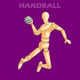 Έννοια του αθλητισμού χάντμπολ με το ξύλινο ανθρώπινο μανεκέν Στοκ Εικόνες