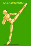 Έννοια του αθλητισμού Taekwondo με το ξύλινο ανθρώπινο μανεκέν Στοκ Εικόνα