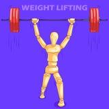 Έννοια του ανυψωτικού αθλητισμού βάρους με το ξύλινο ανθρώπινο μανεκέν Στοκ φωτογραφία με δικαίωμα ελεύθερης χρήσης