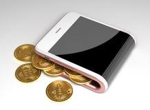 Έννοια του εικονικών πορτοφολιού και Bitcoins διανυσματική απεικόνιση