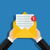 Έννοια του εισερχόμενου μηνύματος ηλεκτρονικού ταχυδρομείου απεικόνιση αποθεμάτων