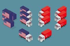 Έννοια του εμπορικού πολέμου των Ηνωμένων Πολιτειών της Αμερικής και της Τουρκίας Στοκ Φωτογραφίες