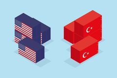 Έννοια του εμπορικού πολέμου των Ηνωμένων Πολιτειών της Αμερικής και της Τουρκίας Στοκ εικόνα με δικαίωμα ελεύθερης χρήσης