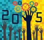 έννοια του 2015 με τις ρόδες και τα χέρια στο ψηφιακό υπόβαθρο Στοκ Εικόνα