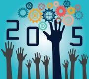 έννοια του 2015 με τις ρόδες και τα χέρια Στοκ φωτογραφία με δικαίωμα ελεύθερης χρήσης