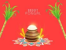 Έννοια του νότιου ινδικού φεστιβάλ, ευτυχείς εορτασμοί Pongal απεικόνιση αποθεμάτων