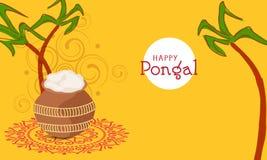 Έννοια του νότιου ινδικού φεστιβάλ, ευτυχείς εορτασμοί Pongal διανυσματική απεικόνιση