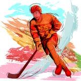 Έννοια του παίζοντας χόκεϋ πάγου αθλητικών τύπων Στοκ εικόνα με δικαίωμα ελεύθερης χρήσης