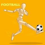 Έννοια του ποδοσφαίρου με το ξύλινο ανθρώπινο μανεκέν Στοκ Φωτογραφίες