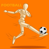 Έννοια του ποδοσφαίρου με το ξύλινο ανθρώπινο μανεκέν Στοκ Φωτογραφία
