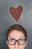 Έννοια του προσώπου γυναικών με την καρδιά Στοκ φωτογραφία με δικαίωμα ελεύθερης χρήσης