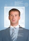 Έννοια του προσδιορισμού προσώπων Άτομο στο κοστούμι, που εξετάζει τη κάμερα Πρόσωπο με τις γραμμές Στοκ Εικόνες