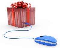 Έννοια του σε απευθείας σύνδεση δώρου, giftbox συνδεμένος με ένα ποντίκι υπολογιστών Στοκ Εικόνες
