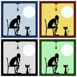 Έννοια του σκεπτόμενου ατόμου με τη γάτα Στοκ εικόνα με δικαίωμα ελεύθερης χρήσης