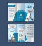 Έννοια του σχεδίου αρχιτεκτονικής με το πλαίσιο φωτογραφιών trifold πρότυπο φυλλάδιων για την επιχείρηση ακίνητων περιουσιών Στοκ φωτογραφίες με δικαίωμα ελεύθερης χρήσης