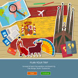 Έννοια του ταξιδιού ή της μελέτης των ισπανικών Στοκ Εικόνες