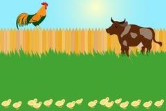 Έννοια του χωριού καρτών με τον κόκκορα και την αγελάδα Στοκ Εικόνες