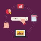 Έννοια του analytics ιστοχώρου και της ανάλυσης στοιχείων SEO διανυσματική απεικόνιση