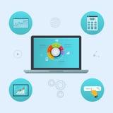 Έννοια του analytics ιστοχώρου και της ανάλυσης στοιχείων SEO απεικόνιση αποθεμάτων
