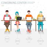Έννοια του coworking κέντρου ελεύθερη απεικόνιση δικαιώματος