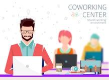 Έννοια του coworking κέντρου διανυσματική απεικόνιση