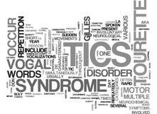 Έννοια του Gilles Tourette Syndrome Word Cloud Στοκ φωτογραφία με δικαίωμα ελεύθερης χρήσης