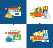 Έννοια - το σε απευθείας σύνδεση κατάστημα, η πληρωμή και η παράδοση, εξασφαλίζουν Στοκ Εικόνες