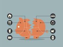 Έννοια τράπεζας Piggy για οικονομικό απεικόνιση αποθεμάτων