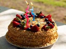 Έννοια τροφίμων κόμματος Σπιτικό κέικ για τα γενέθλια που διακοσμείται με τα κεριά, φρέσκα βακκίνια, φράουλες Δύο χρονών στοκ εικόνες