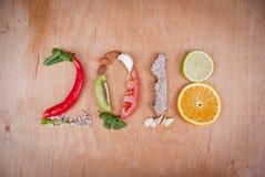 2018 έννοια τροφίμων στοκ εικόνα με δικαίωμα ελεύθερης χρήσης