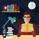 Έννοια των βιβλίων ανάγνωσης με το άτομο ελεύθερη απεικόνιση δικαιώματος