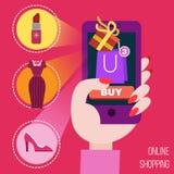 Έννοια των κινητών σε απευθείας σύνδεση αγορών διανυσματική απεικόνιση